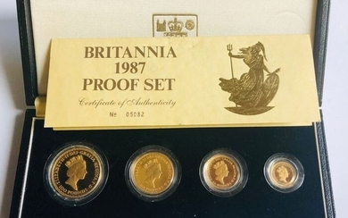 United Kingdom - 10 + 25 + 50 + 100 Pounds 1987 'Britannia' (4 coins) in set - Gold
