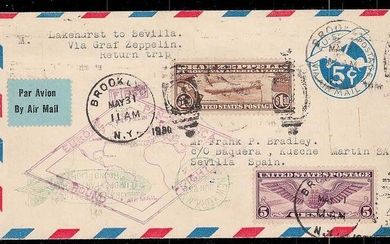 United States of America 1930 - Airship Graf Zeppelin Pan America Roundfluight with 1.30$ Zepp stamp