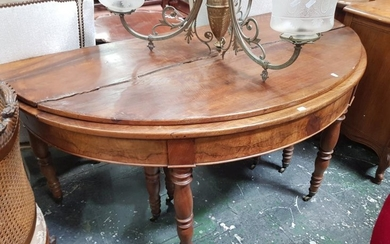 Unusual 19th Century French Fold Over & Extending Dining Table, the demi-lune top opening to a circle and with telescopic action