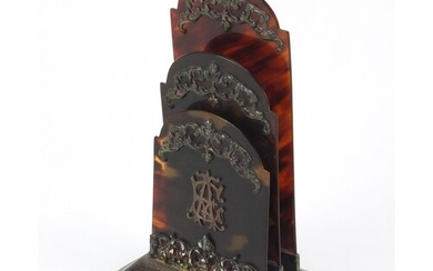 Victorian silver and tortoiseshell letter rack with foliate ...