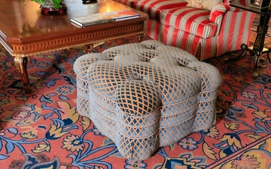 Victorian style tufted, blue upholstery ottoman