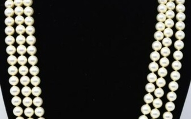 Vintage Costume Jewelry 3 Strand Pearl Necklace