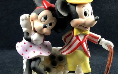 Vintage Mickey Mouse and Minnie Dancing Porcelain