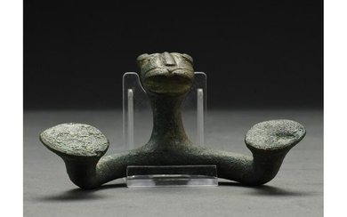 WESTERN ASIATIC BRONZE HANDLE WITH LION HEAD