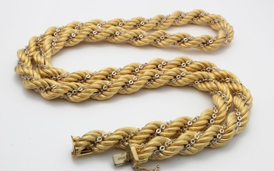 White and Yellow Gold Rope Chain marked and tested as 18ct w...