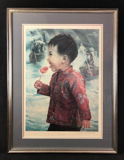 Wow Sweet Framed Artist Proof Lithograph by Wai Ming