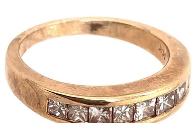 14 Karat Yellow Gold Band with Nine Diamonds Wedding