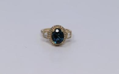 14Kt Yellow Gold Diamonds/London Blue Topaz Ring