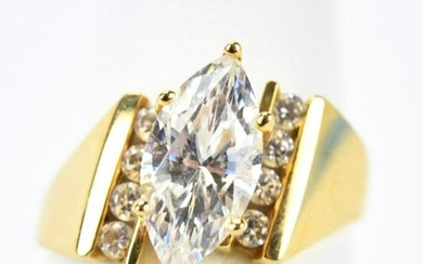 14kt Yellow Gold & CZ Navette Ring