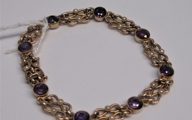 15ct Gold bracelet set amethyst and seed pearls