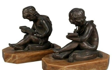 19th C. Bronze & Marble Figural Bookends after Lemire