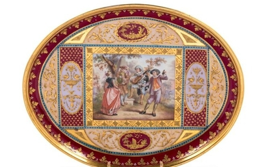 19th C. Royal Vienna Painted and Parcel Gilt Porcelain