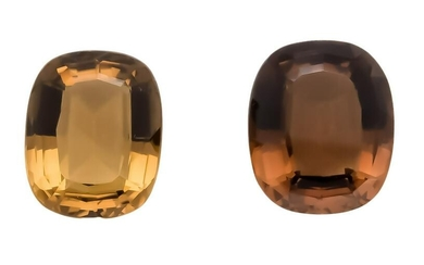2 smoky quartz, 31.56 and 26.63 ct, oval staircase