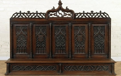 CARVED OAK GOTHIC STYLE WALL HUNG SHELF C.1900