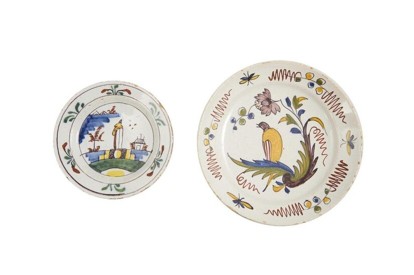 46- Delft and North: A stanniferous earthenware plate with polychrome...