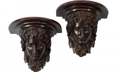 61046: A Pair of Pompeian-Style Patinated Bronze Bracke