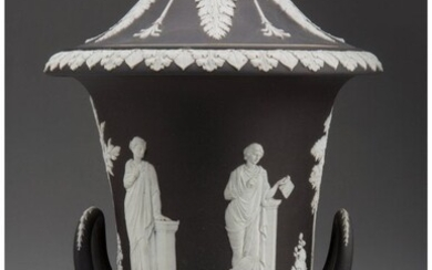 61046: A Wedgwood Black Jasperware Covered Campagna Urn
