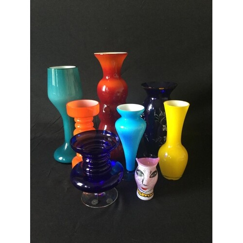 8 glass vases in various sizes. Thought to be Scandinavian ...