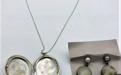 .925 Sterling Mother-of-Pear Locket Necklace & Earrings
