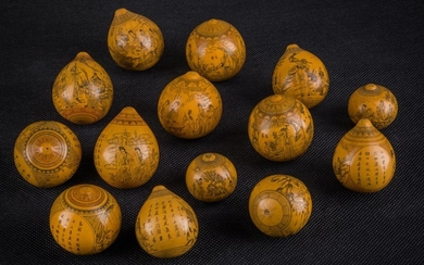 A 14 Lanzhou Engraved Gourds by Wang Yun Shan(王云山), China 1940 50's.
