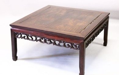 A 19TH CENTURY CHINESE CARVED HARDWOOD COFFEE TABLE