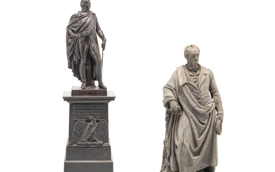 A 19th century German cast-iron figure of General Friedrich Wilhelm Graf Bülow together with a similar period lead figure of Goethe