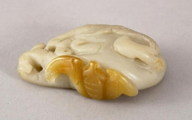 A 20TH CENTURY CHINESE CARVED SOAPSTONE FIGURE OF A BAT