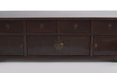 A CHINESE LACQUERED ELM COFFER QING DYNASTY (1644-1912), SHANXI PROVINCE, CIRCA 19TH CENTURY
