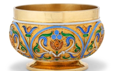 A CLOISONNÉ ENAMEL SILVER-GILT BOWL, MARKED FABERGÉ, WITH THE WORKMASTER'S MARK CYRILLIC 'NP', ST PETERSBURG, 1904-1908, SCRATCHED INVENTORY NUMBER 16996