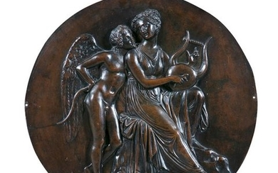 A CONTINENTAL CAST BRONZE ROUNDEL, 19th century; decorated...