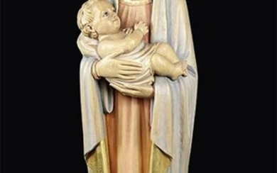 A Carved Wood Madonna and Child Figure.
