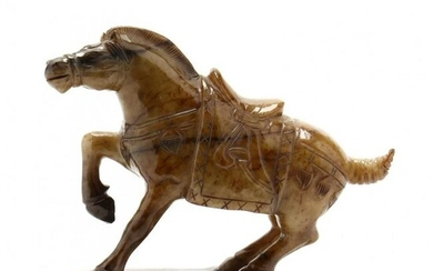 A Chinese Carved Hardstone Horse