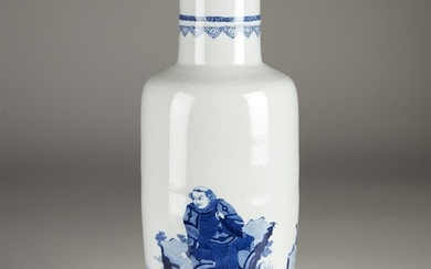 A Chinese blue and white tall porcelain rouleau vase...