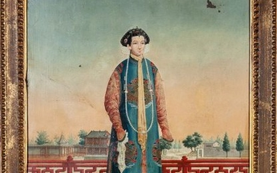 """A Chinese export painting """"Wife of Sopu, Customs..."""