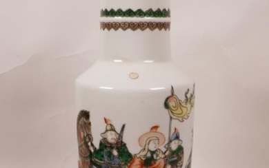 A Chinese famille verte porcelain Rouleau vase decorated wit...