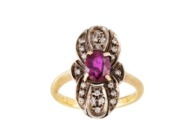 A DIAMOND AND RUBY PLAQUE RING, the oval ruby to a diamond s...