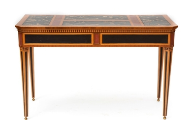 A Dutch satinwood, fruitwood, and red and black and gilt japanned sidetable
