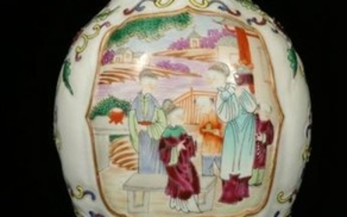 A FAMILLE ROSE VASE WITH FLORAL& LADY FIGURE PATTERN