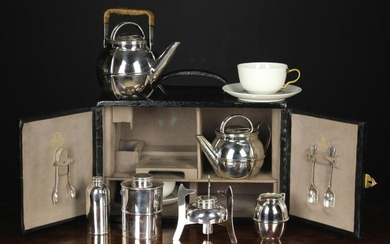 A Fine Quality Art Deco Silver Plated Picnic Teaset by Hamilton & Co. fitted in a faux black leather
