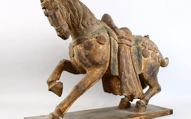 A GOOD AND LARGE CHINESE CARVED WOOD MODEL OF A