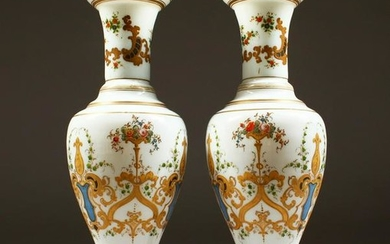 A GOOD PAIR OF 19TH CENTURY OPALINE VASES with gilt and