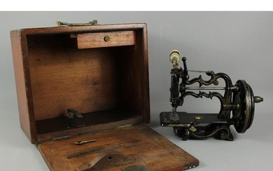 A J & G Weir 19th century sewing machine with gilded decorat...