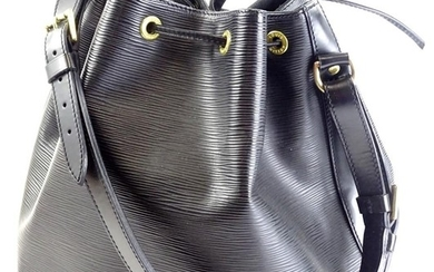 A Louis Vuitton Epi Leather Noe handbag, in black, with bras...