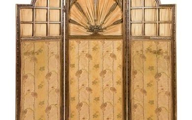 A Louis XVI Style Carved Three-Panel Floor Screen