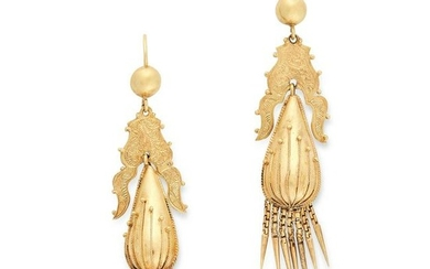 A PAIR OF ANTIQUE VICTORIAN TASSEL EARRINGS, 19TH