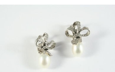 A PAIR OF DIAMOND AND CULTURED PEARL CLIP EARRINGS each earr...