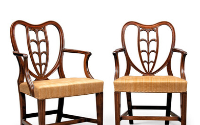 A PAIR OF GEORGE III MAHOGANY 'WYATT PATTERN' ARMCHAIRS