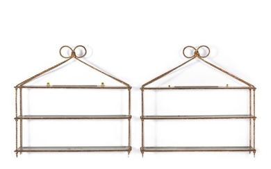 A PAIR OF GILT METAL AND WOOD HANGING SHELVES