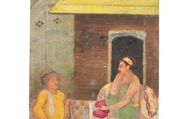 A PRINCE LISTENS TO A MUSICIAN AT NIGHT, MUGHAL INDIA, FIRST HALF 17TH CENTURY