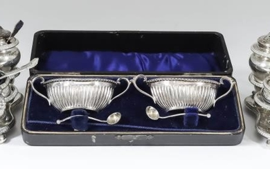 A Pair of Edward VII Silver Oval Two-Handled Salts,...